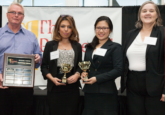 2015 Paralegal Cup Michael Turvey Memorial Award Finalists, Jenous Lorestani and Cathy Tang - Seneca College